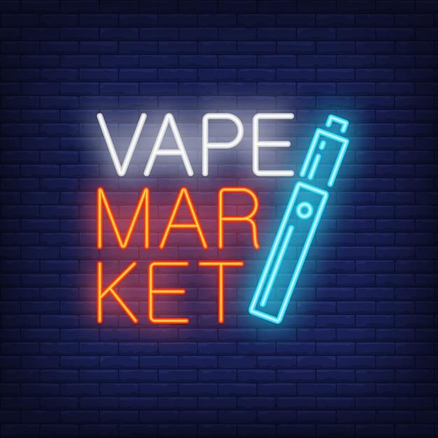 Vape market neon sign. bright blue cigarette on dark brick wall. Free Vector