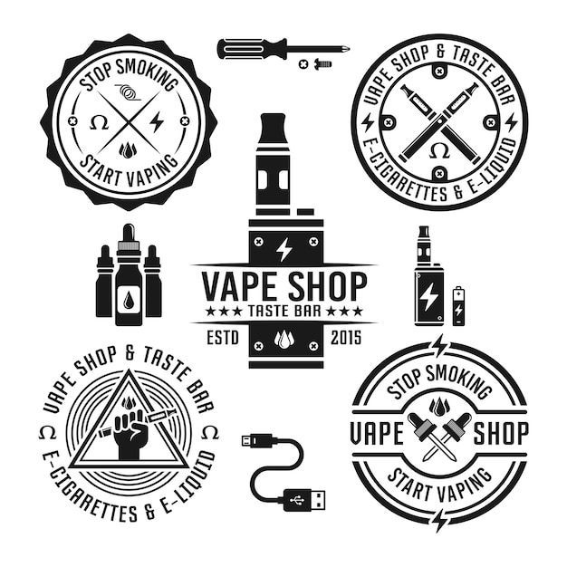 Vape shop and e-cigarette set of monochrome labels and design elements isolated on white background Premium Vector