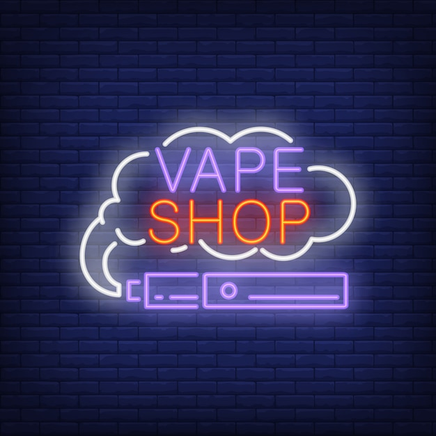 Vape shop neon sign. e-cigarette with smoke cloud. night bright advertisement. Free Vector