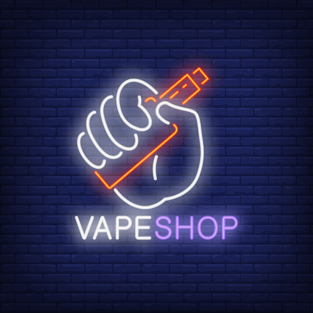 Vape shop neon sign. hand holding electronic cigarette on brick wall. Free Vector