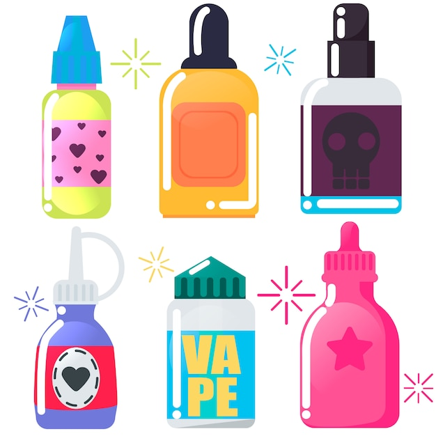 Vape shop  set. Free Vector