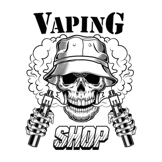 Illustrazione di vettore del negozio di vape. teschio di vaper hipster alla moda con sigarette elettroniche e vapore Vettore gratuito