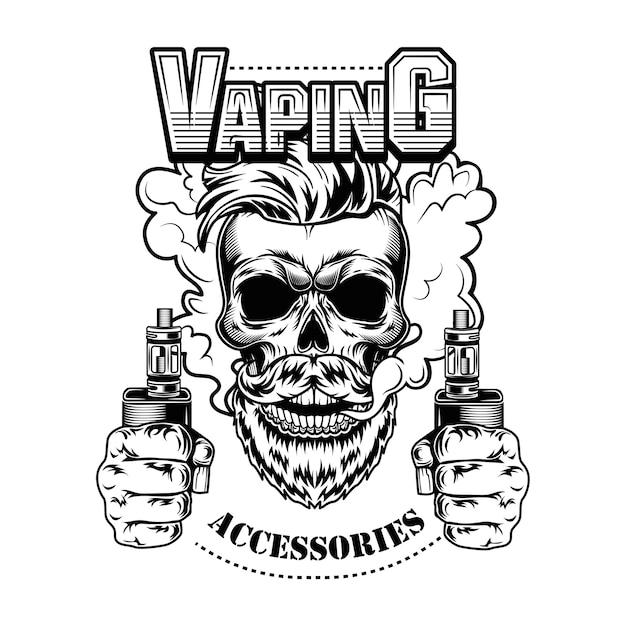 Vaping аксессуары векторные иллюстрации. модный хипстерский бородатый череп с электронными сигаретами и паром Бесплатные векторы