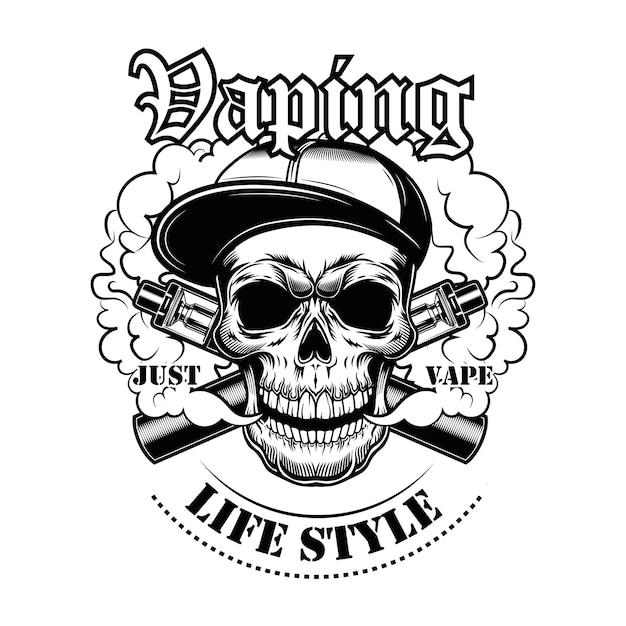 Cranio di vaping nell'illustrazione di vettore del cappuccio del gangsta. carattere elegante in cappello con sigarette elettroniche e vapore, testo di stile di vita Vettore gratuito