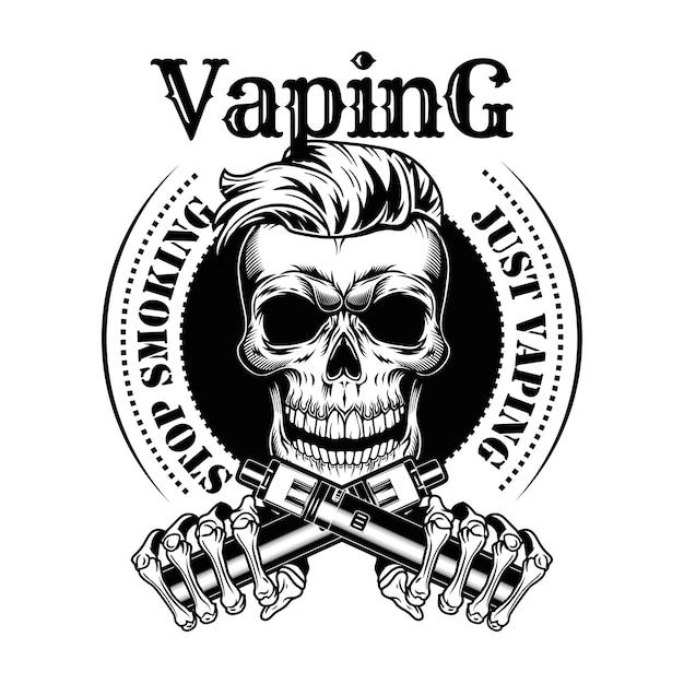 Vaping черепа векторные иллюстрации. модный хипстерский бородатый персонаж с сигаретами без никотина, печатью и текстом «бросить курить» Бесплатные векторы