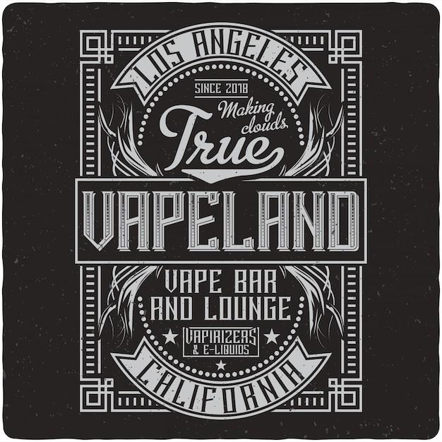 Vaping vintage label Premium Vector