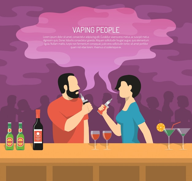 Vapor electronic cigarettes smoking illustration Free Vector