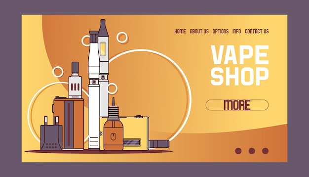 Vaporpattern web page vaping device and modern vaporizer e-cig illustration Premium Vector