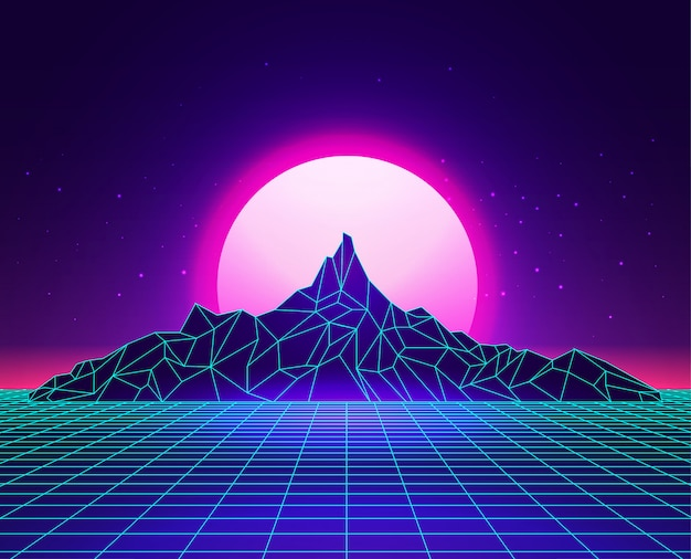 Vaporwave laser grid abstract mountains landscape with sunset on background. synthwave concept. Premium Vector