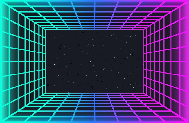 Vaporwave retro futuristic background. abstract laser grid tunnel in neon colors with glow effect. night sky with stars. wallpaper for cyberpunk party, music poster, hackathon meeting. Premium Vector
