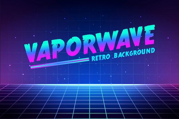 Vaporwave Text On Laser Grid Background Premium Vector