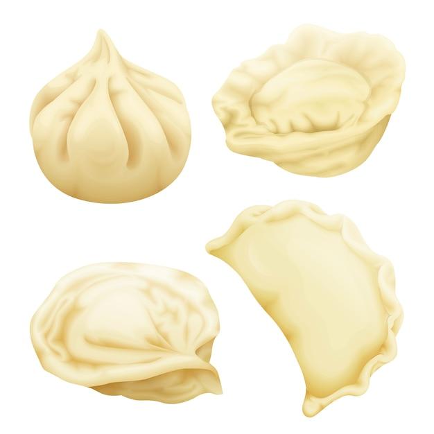 現実的な餃子が設定されます。 vareniki pierogi ravioli khinkali pelmeni manti momo tortellini。 無料ベクター