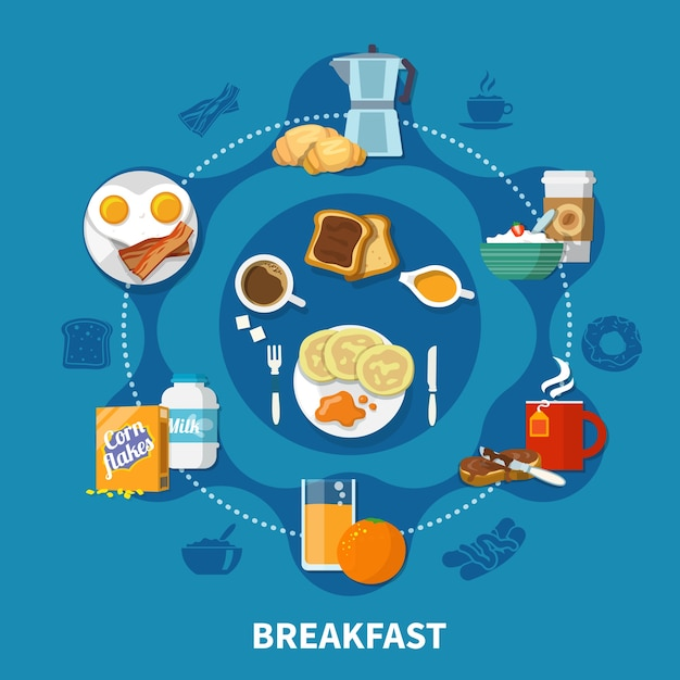 Variants of dishes and drinks for tasty breakfast colorful concept on blue background flat Free Vector