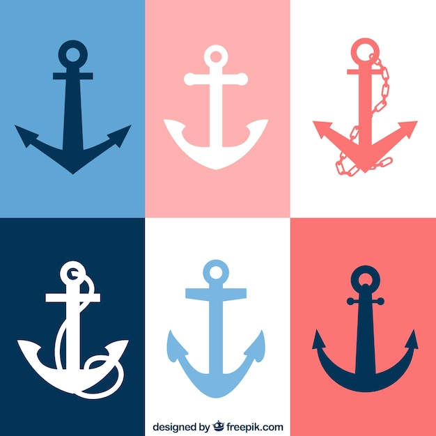 Variety of anchor icons Free Vector