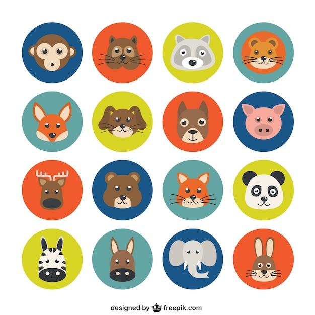 Variety of animal avatars Free Vector