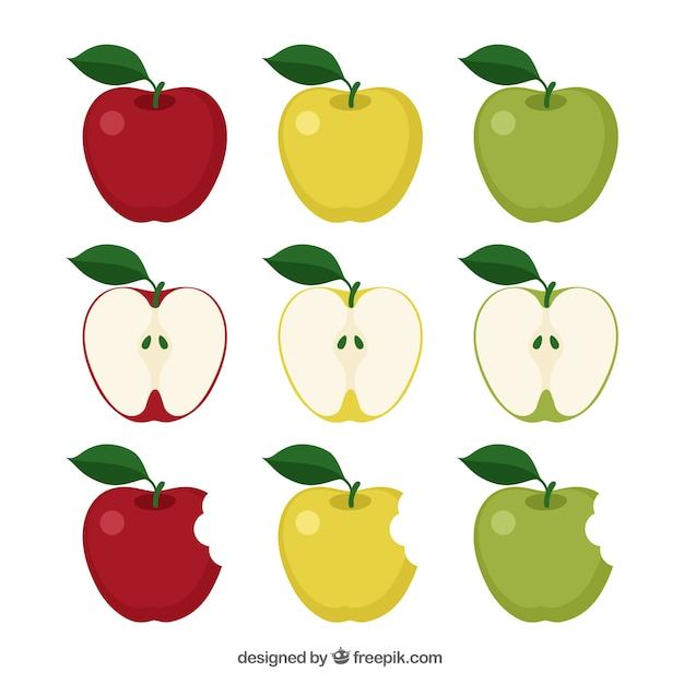 Variety of apples Free Vector