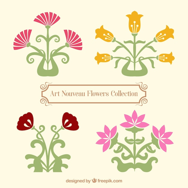 Fiori Liberty.Variety Of Art Nouveau Flowers Free Vector