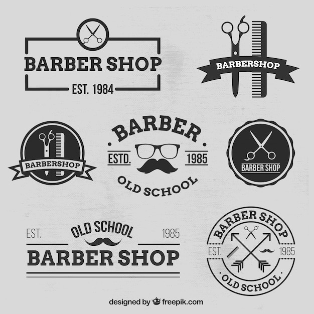 Variety of baber shop logos Free Vector