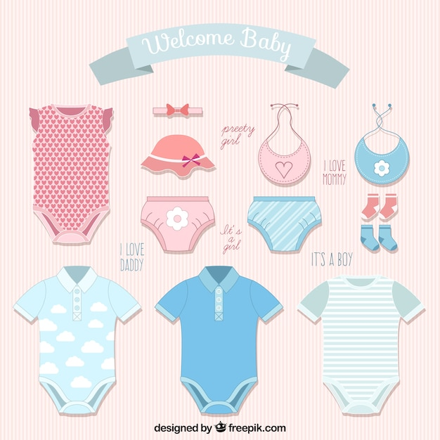811782b2fd7f7 Variety of baby clothes Vector | Free Download