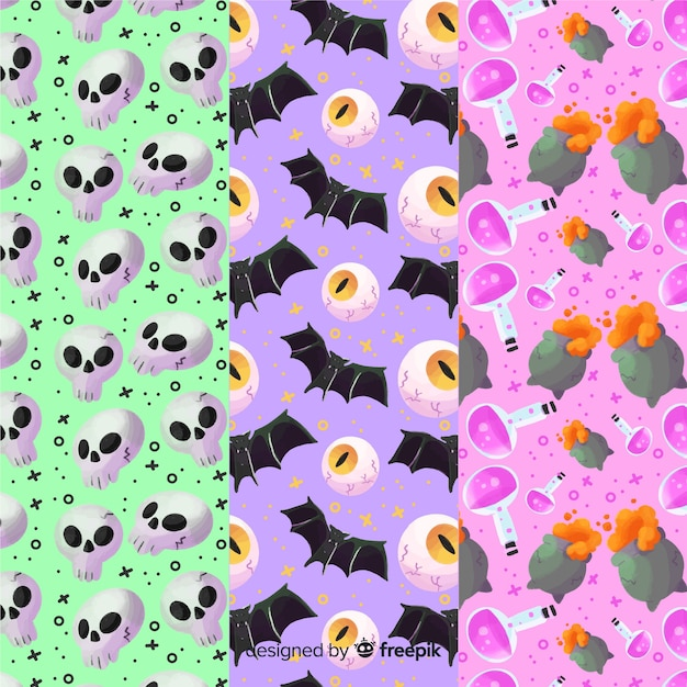 Variety of background colours for halloween pattern collection Free Vector