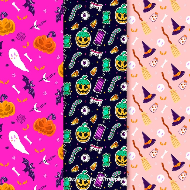 Variety of background colours with halloween pattern Free Vector