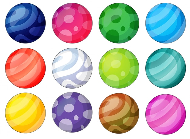 Variety of balls with unique patterns Free Vector
