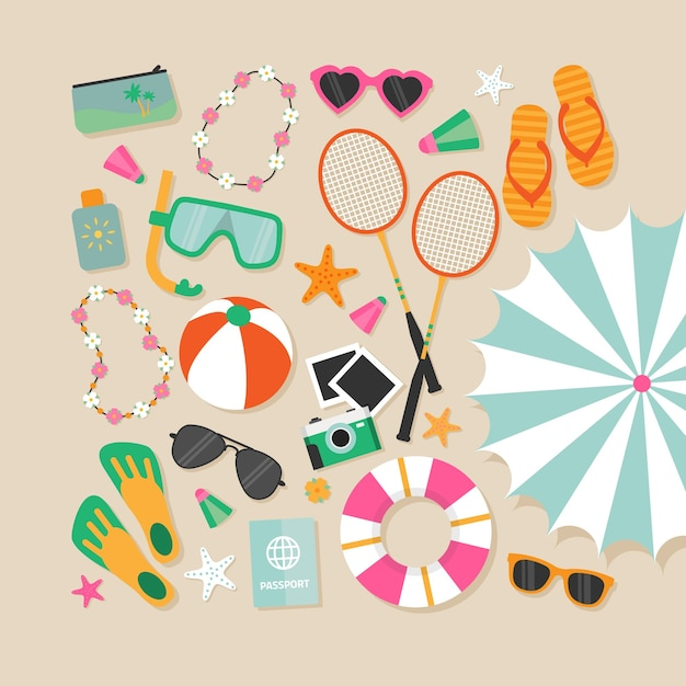 Variety of beach elements Free Vector