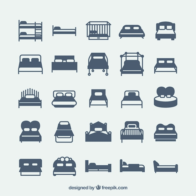 Variety of bed icons Free Vector