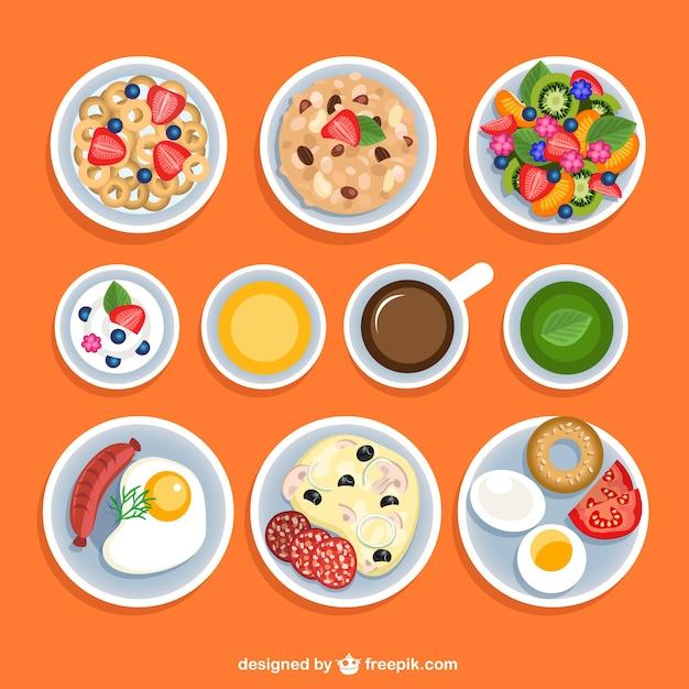 Variety of breakfasts Free Vector