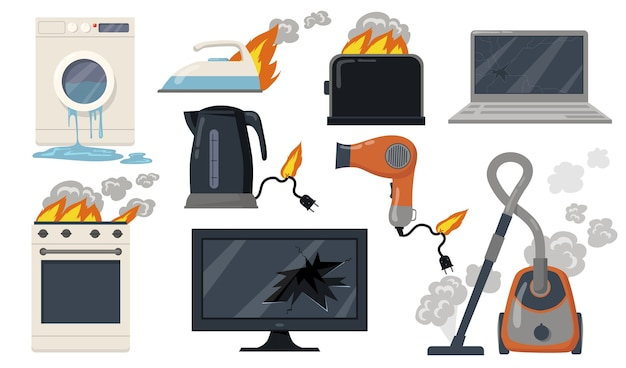 Variety of broken home electrical appliances flat item set. cartoon damaged stove, toaster, vacuum cleaner, laptop isolated vector illustration collection. household and equipment concept Free Vector