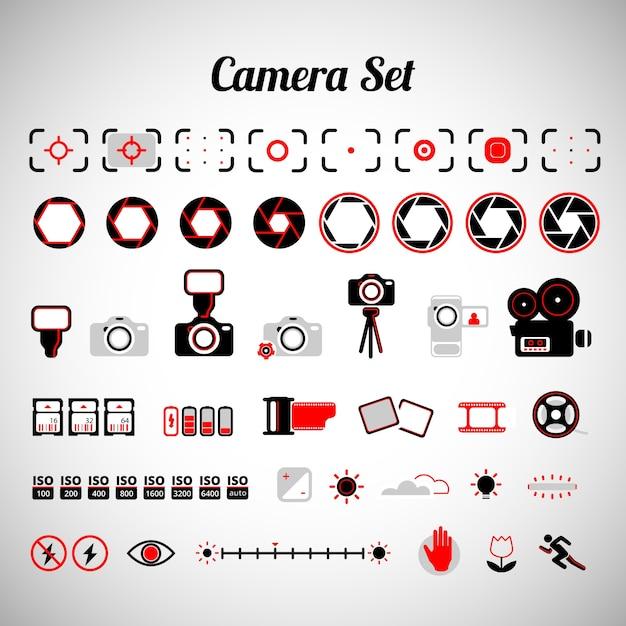Variety of camera equipment Premium Vector