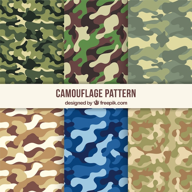 Variety of camouflage patterns Free Vector