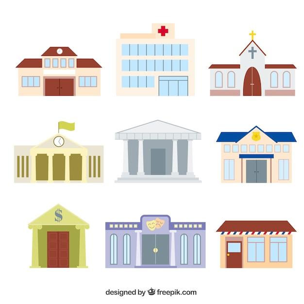 Varietà di edifici cartoni animati Vettore gratuito