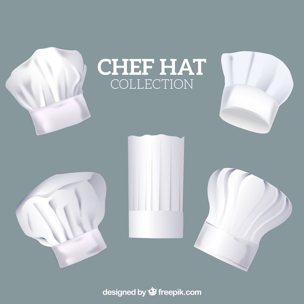 Variety of chef hats in realistic design Free Vector