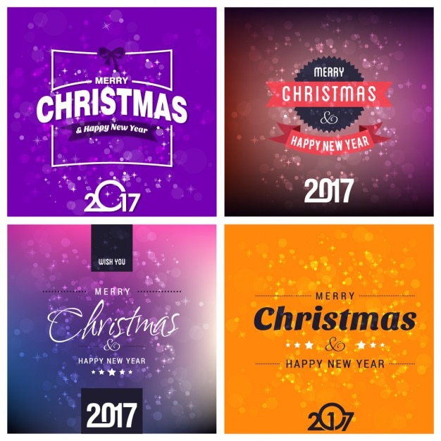 Variety of christmas cards Free Vector