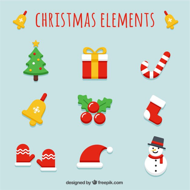 Christmas Items.Variety Of Christmas Items In Flat Design Vector Free Download