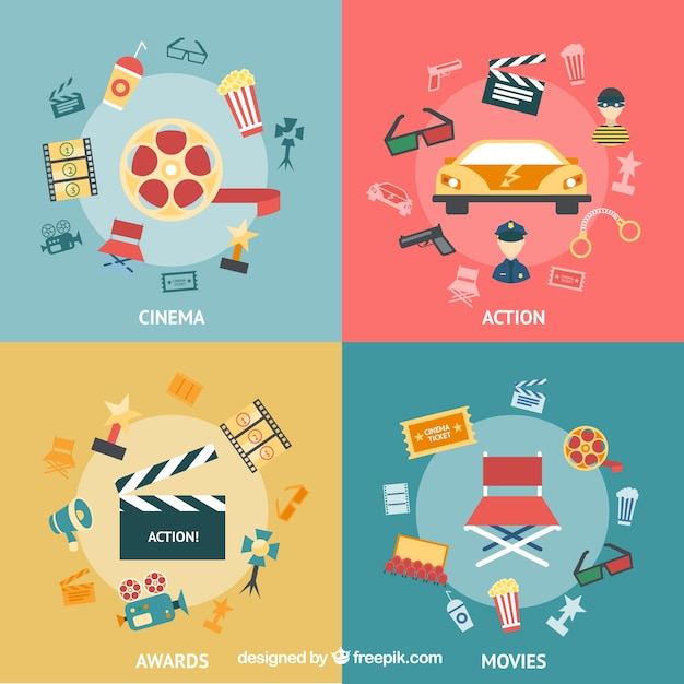 Variety of cinema icons Free Vector