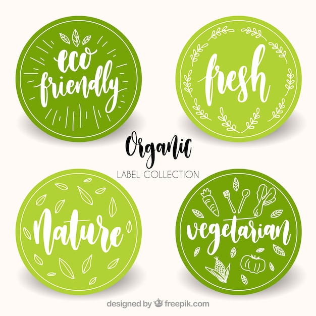 Variety of circular organic food labels Free Vector