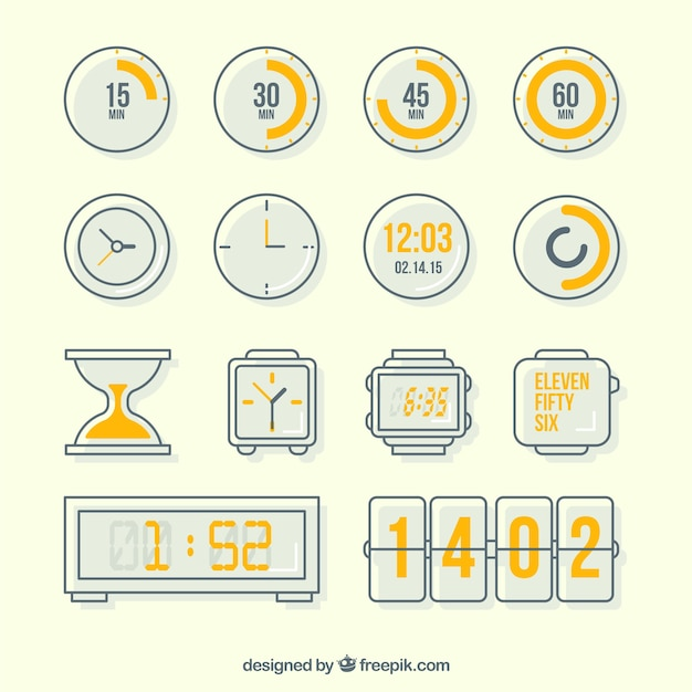 Variety of clock icons Free Vector