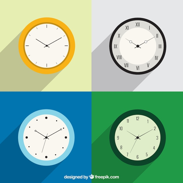 Variety of clocks Free Vector