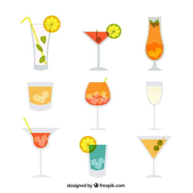 Variety of cocktails Free Vector