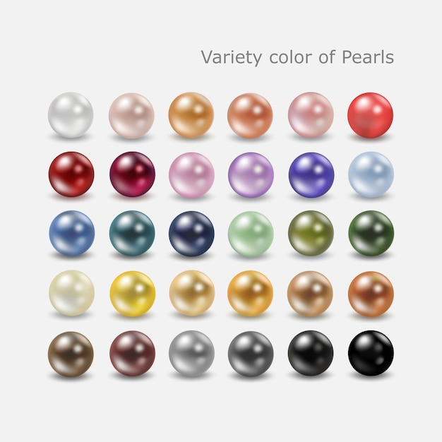 Variety color pearl set Premium Vector