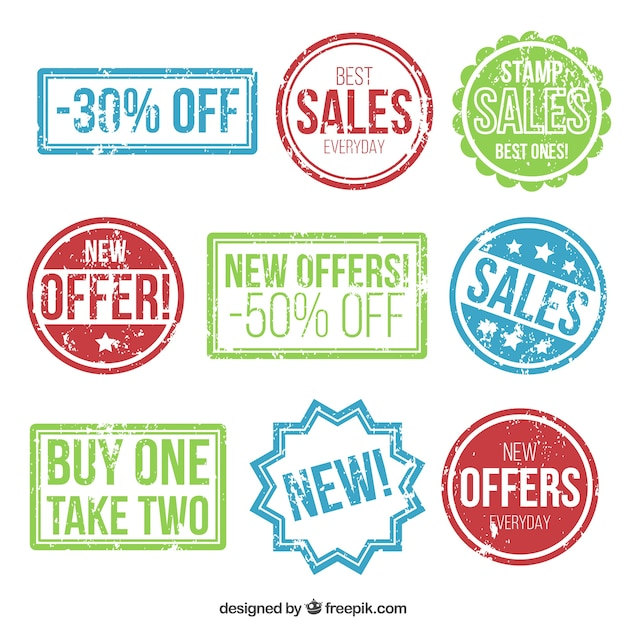 Variety of colored sales stamps Free Vector