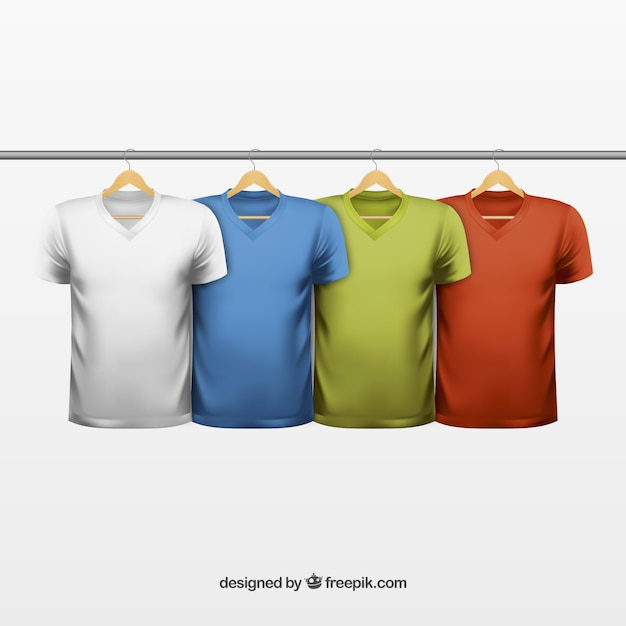 Variety of colored t shirts Free Vector