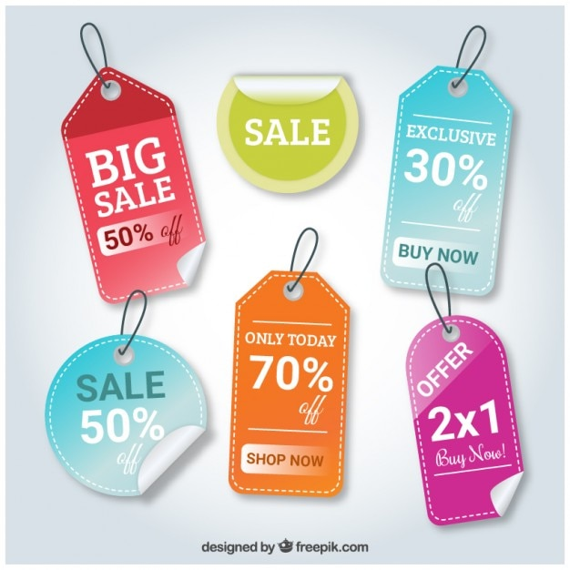 Variety of colored tags Free Vector