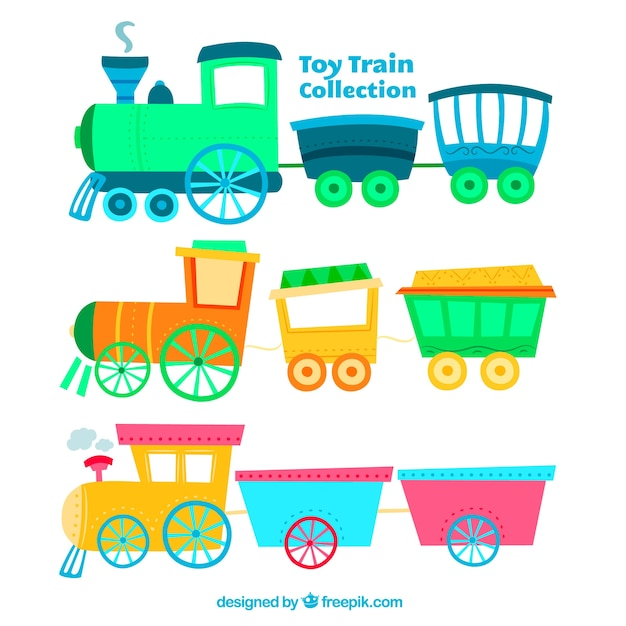 Variety of colored toy trains in hand-drawn style Free Vector