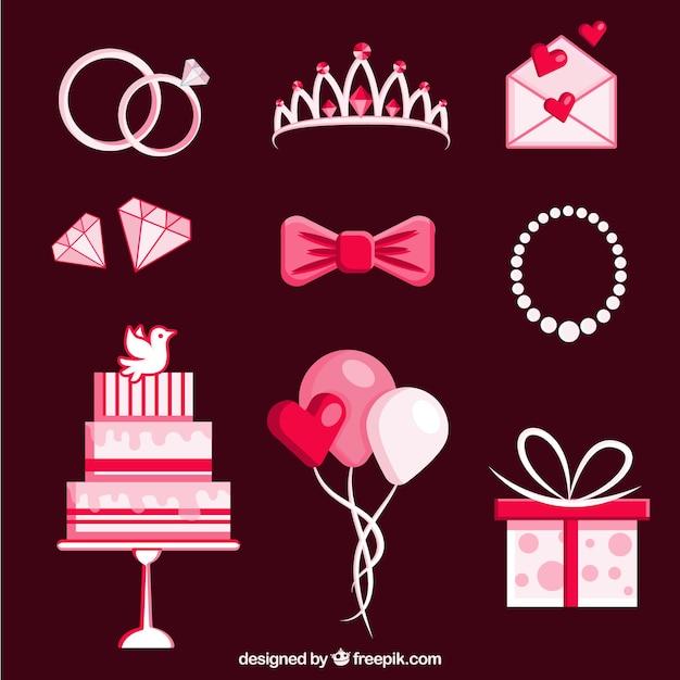 Varietà di elementi di nozze colorati in design piatto Vettore gratuito
