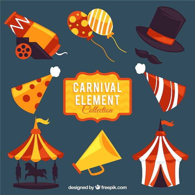 Variety of colorful carnival elements Free Vector