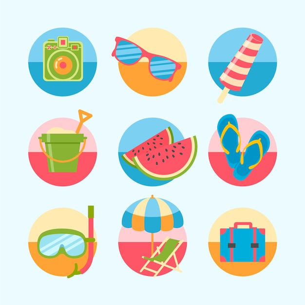 Variety of colorful summer icons Free Vector