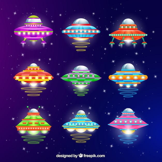 Variety of colorful ufo Free Vector
